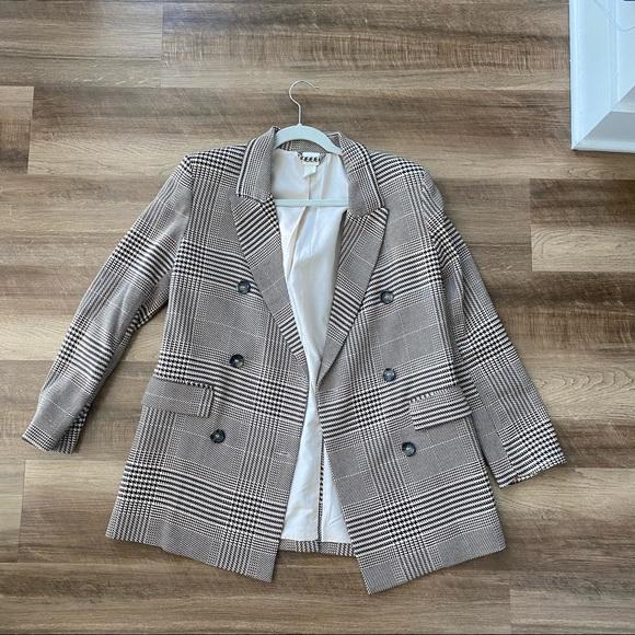 oversized brown striped blazer jacket